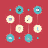 Calendrier plat d'icônes, bureau, diagramme et d'autres éléments de vecteur L'ensemble de Job Flat Icons Symbols Also inclut le c Images stock