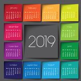 calendrier 2019 Post-it de couleur photos stock