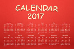 Calendrier pour 2017 Photos libres de droits