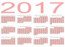Calendrier pour 2017 photo libre de droits