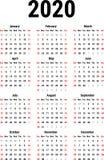 Calendrier pour 2020 Photographie stock libre de droits