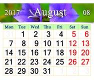 Calendrier pour août 2017 avec des jacinthes des bois lilas Images libres de droits