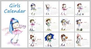Calendrier pour 2019 avec la fille mignonne de saison Illustrati de filles de croquis images libres de droits