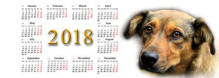 Calendrier pour 2018 avec le chien gentil Photos libres de droits