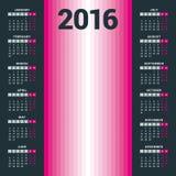 Calendrier pour 2016 - calibre de vecteur Photo stock