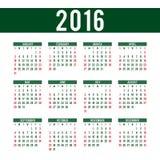 Calendrier pour 2016 - calibre de vecteur Photographie stock libre de droits