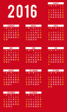 Calendrier pour 2016 - calibre de vecteur Photographie stock