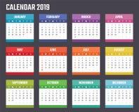 Calendrier pour 2019 débuts dimanche, conception de calendrier de vecteur 2019 ans illustration libre de droits