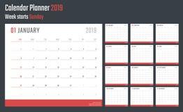Calendrier pour 2019 débuts dimanche, conception de calendrier de vecteur 2019 ans Images stock