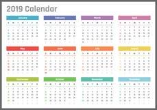Calendrier pour 2019 débuts dimanche, conception de calendrier de vecteur 2019 ans Photo libre de droits