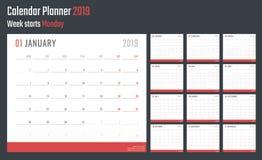 Calendrier pour 2019 débuts lundi, conception de calendrier de vecteur 2019 ans Images stock