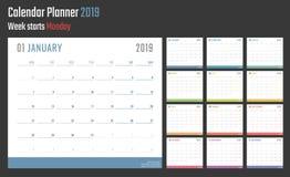 Calendrier pour 2019 débuts lundi, conception de calendrier de vecteur 2019 ans Photographie stock libre de droits
