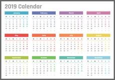 Calendrier pour 2019 débuts lundi, conception de calendrier de vecteur 2019 ans Photo stock