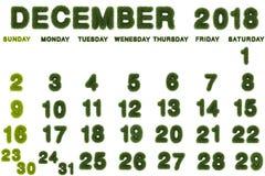 Calendrier pour décembre 2018 sur le fond blanc Photos libres de droits