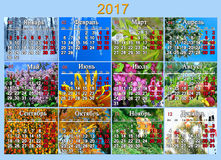 Calendrier pour 2017 dans le Russe avec la photo douze de la nature Image stock