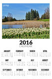 Calendrier pour 2016 Horizontal de source Photos stock
