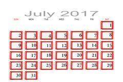 Calendrier pour juillet 2017 Photographie stock