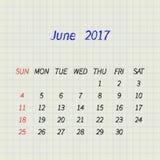 Calendrier pour juin 2017 Illustration de vecteur Images stock