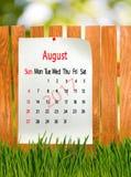 Calendrier pour le plan rapproché août 2017 Images stock