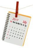 Calendrier pour le plan rapproché de juillet 2017 Images stock