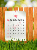 Calendrier pour le plan rapproché de juillet 2017 Photos libres de droits