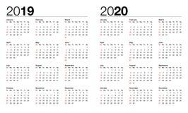Calendrier pour le vecteur 2019 et 2020 illustration de vecteur