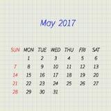 Calendrier pour mai 2017 Illustration de vecteur Image stock