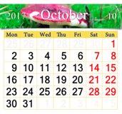 Calendrier pour octobre 2017 avec le russula de champignon Photos stock