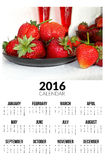 Calendrier pour 2016 Strawberies doux Photo stock