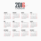 Calendrier pour 2016 sur le fond blanc illustration libre de droits