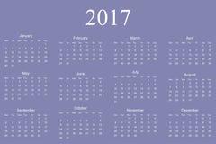 Calendrier pour 2017 sur le fond blanc Vecteur eps10 illustration stock