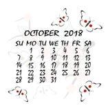 Calendrier pour 2018 Type japonais Le mois d'octobre illustration de vecteur
