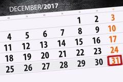 Calendrier quotidien pour le 31 décembre Photographie stock libre de droits