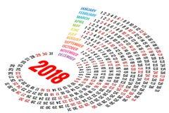 Calendrier rond 2018 de vecteur sur le fond blanc Orientation de portrait Ensemble de 12 mois Planificateur pendant 2018 années Images libres de droits