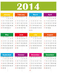 Calendrier 2014 simple Images stock