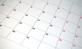 Calendrier simple Photo libre de droits