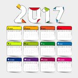 Calendrier 2017 simple illustration stock