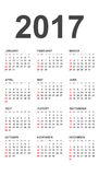 Calendrier simple 2017 Photographie stock