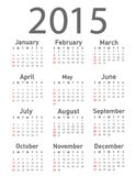 Calendrier simple de 2015 ans Photographie stock