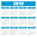 Calendrier simple de 2019 ans Photos stock