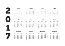 calendrier simple de 2017 ans sur la langue allemande, d'isolement sur le blanc Images stock