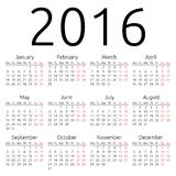 Calendrier simple 2016 de vecteur Image libre de droits