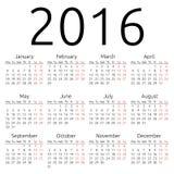 Calendrier simple 2016 de vecteur Image libre de droits