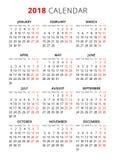 calendrier simple des textes de style de 2018 ans La semaine commence à partir du lundi Photos libres de droits