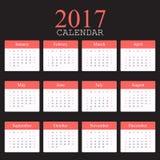 Calendrier simple 2017 La semaine commence à partir du dimanche Illustration de vecteur Photo libre de droits
