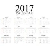 Calendrier simple 2017 La semaine commence à partir du dimanche Illustration de vecteur Photo stock