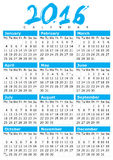 Calendrier simple pour 2016 Images libres de droits