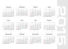 Calendrier simple pour le vecteur de 2015 ans Photo stock