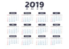 Calendrier simple universel de 2019 nouvelles années avec les personnages de dessin animé drôles dans l'en-tête illustration libre de droits