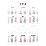 Calendrier simple, 2014. Vecteur Image stock
